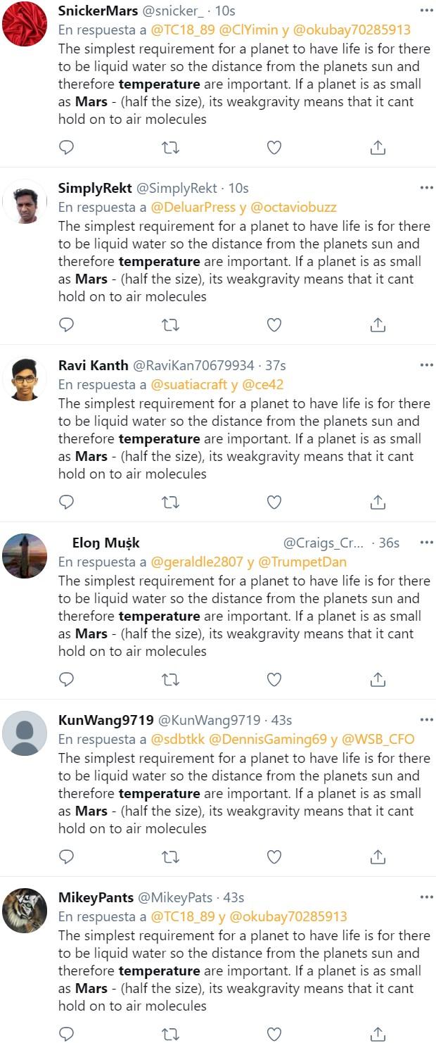 """Buscad """"Mars temperature"""" en Twitter, dale a """"Más recientes"""" y..."""
