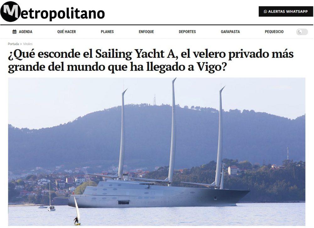Acaban de coincidir en Vigo ahora mismo el velero más grande del mundo, de un multimillonario ruso (Andrey Melnichenko), y el yate más grande del mundo, de un jeque árabe (Jalifa Bin Zayed Al Nahayan)