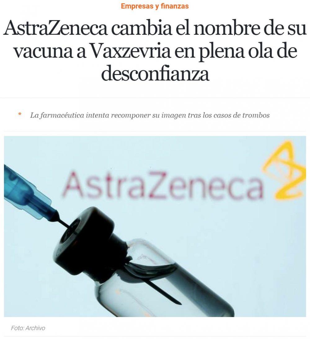 AstraZeneca cambia el nombre de su vacuna a VAXZEVRIA