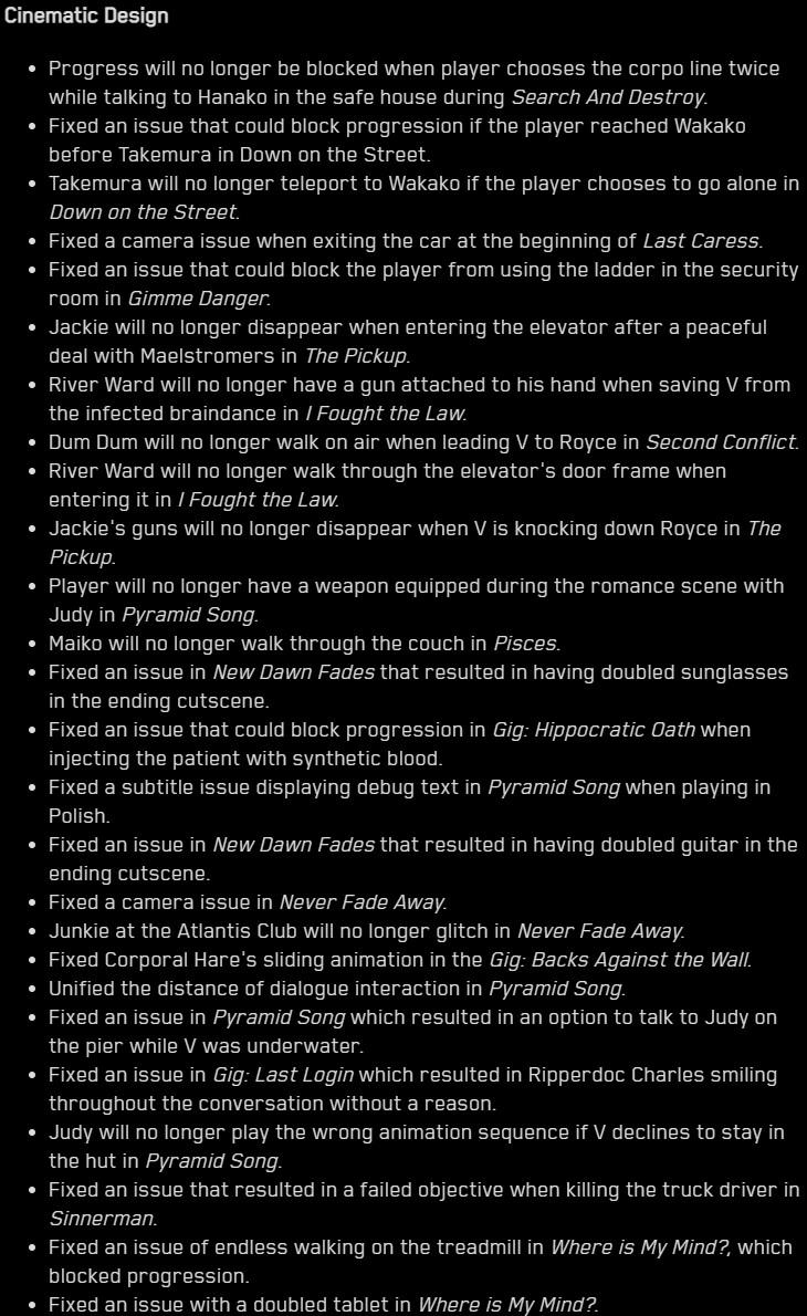 El contenido del nuevo parche de Cyberpunk 2077 sirve para entender la cantidad de fallos que tenía cuando se estrenó