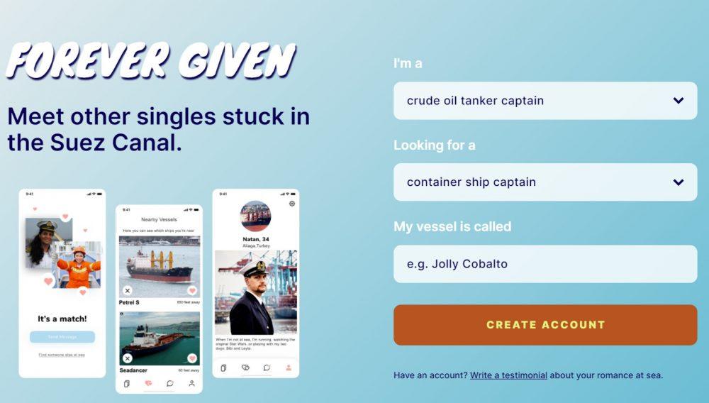 Forever Given: La app para que otros capitanes de barco puedan encontrar pareja mientras están atascados en el canal de Suez