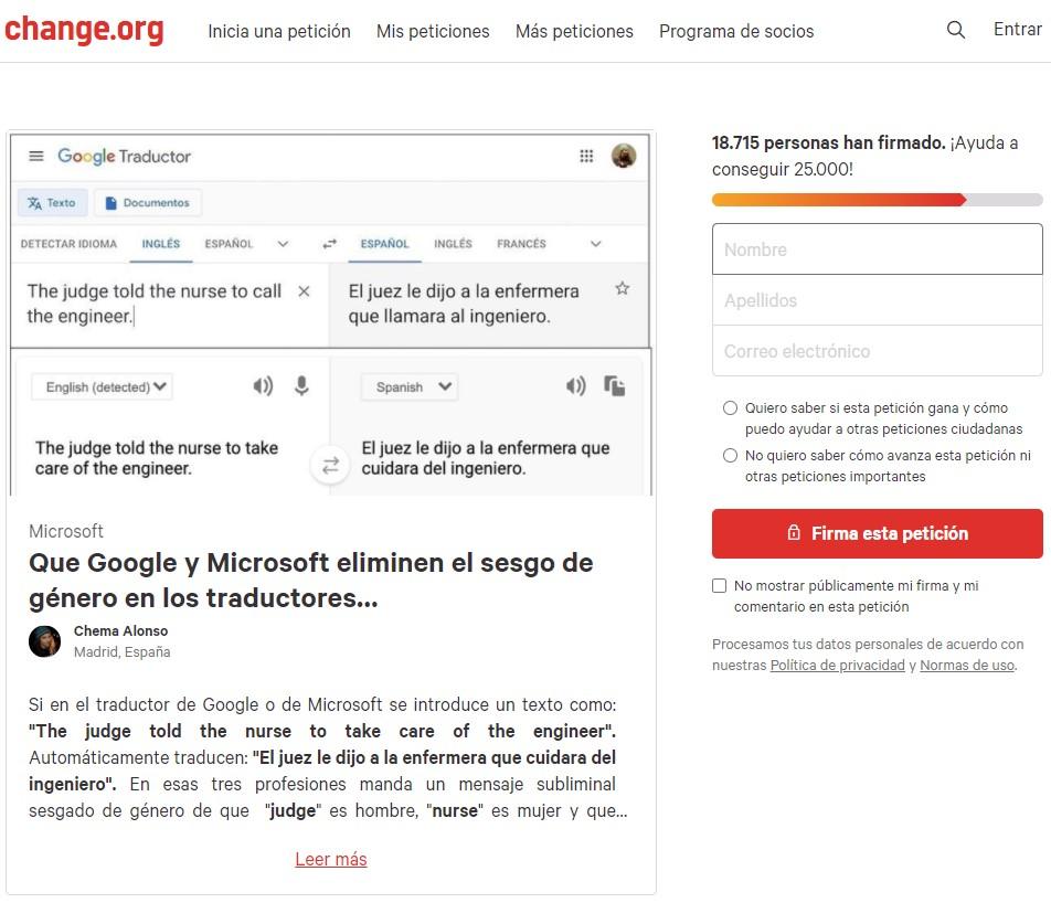 El conocido Hacker Chema Alonso, crea una recogida de firmas para que Google elimine el sesgo de género en sus traducciones