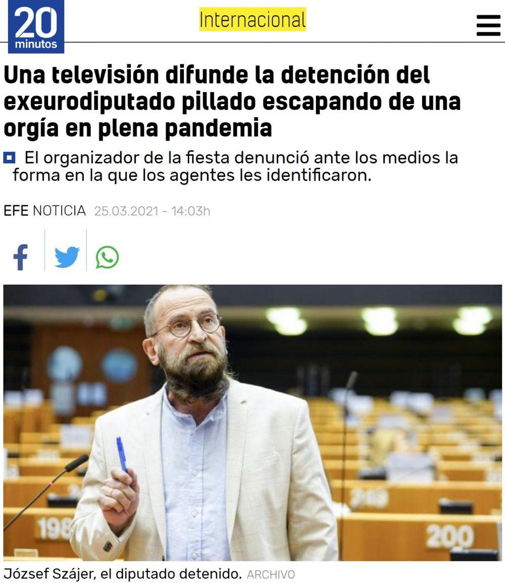 Pillote infernal al exeurodiputado József Szájer, del partido ultraconservador Fidesz