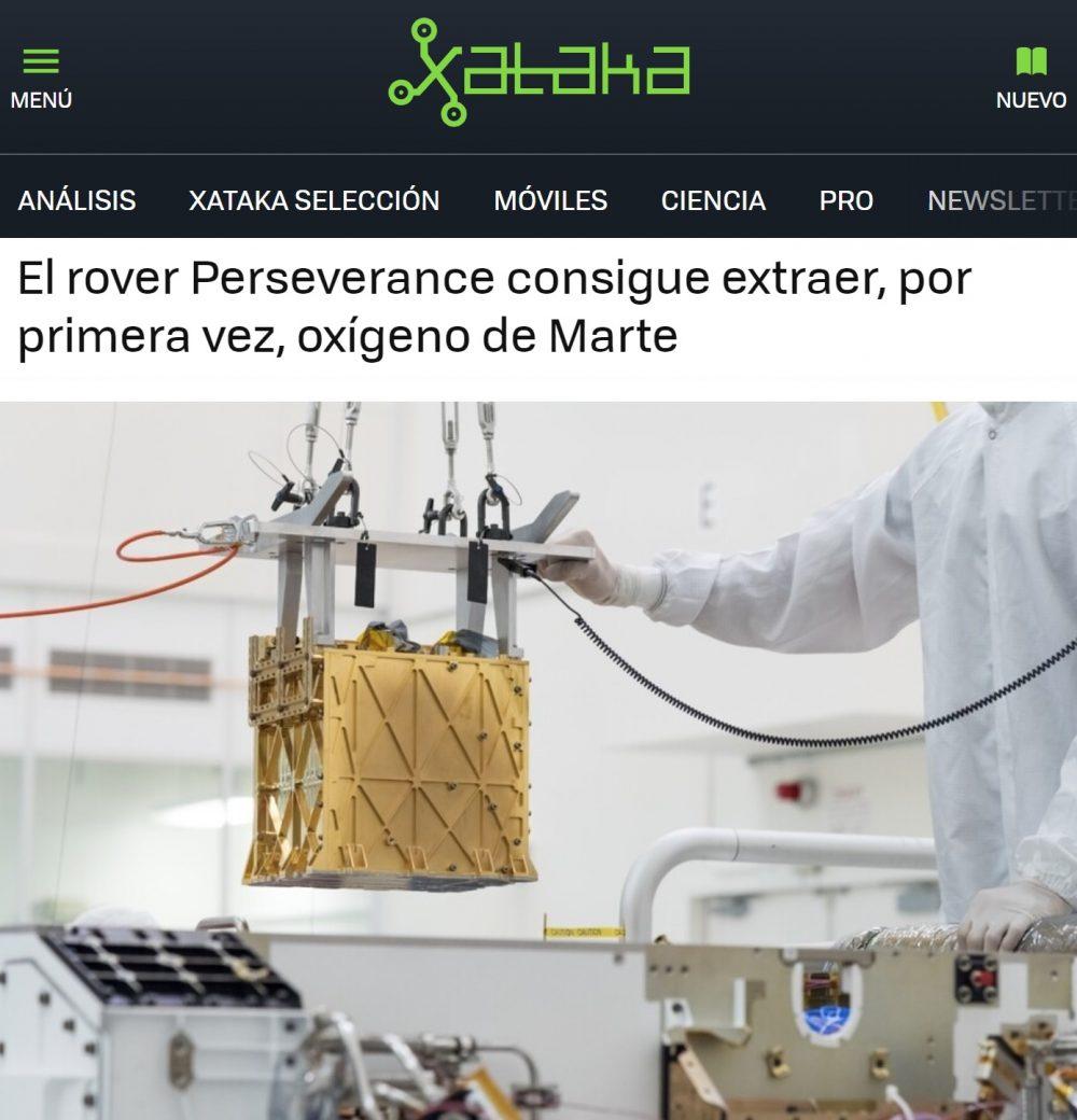 Perseverance ha logrado destilar oxígeno en Marte