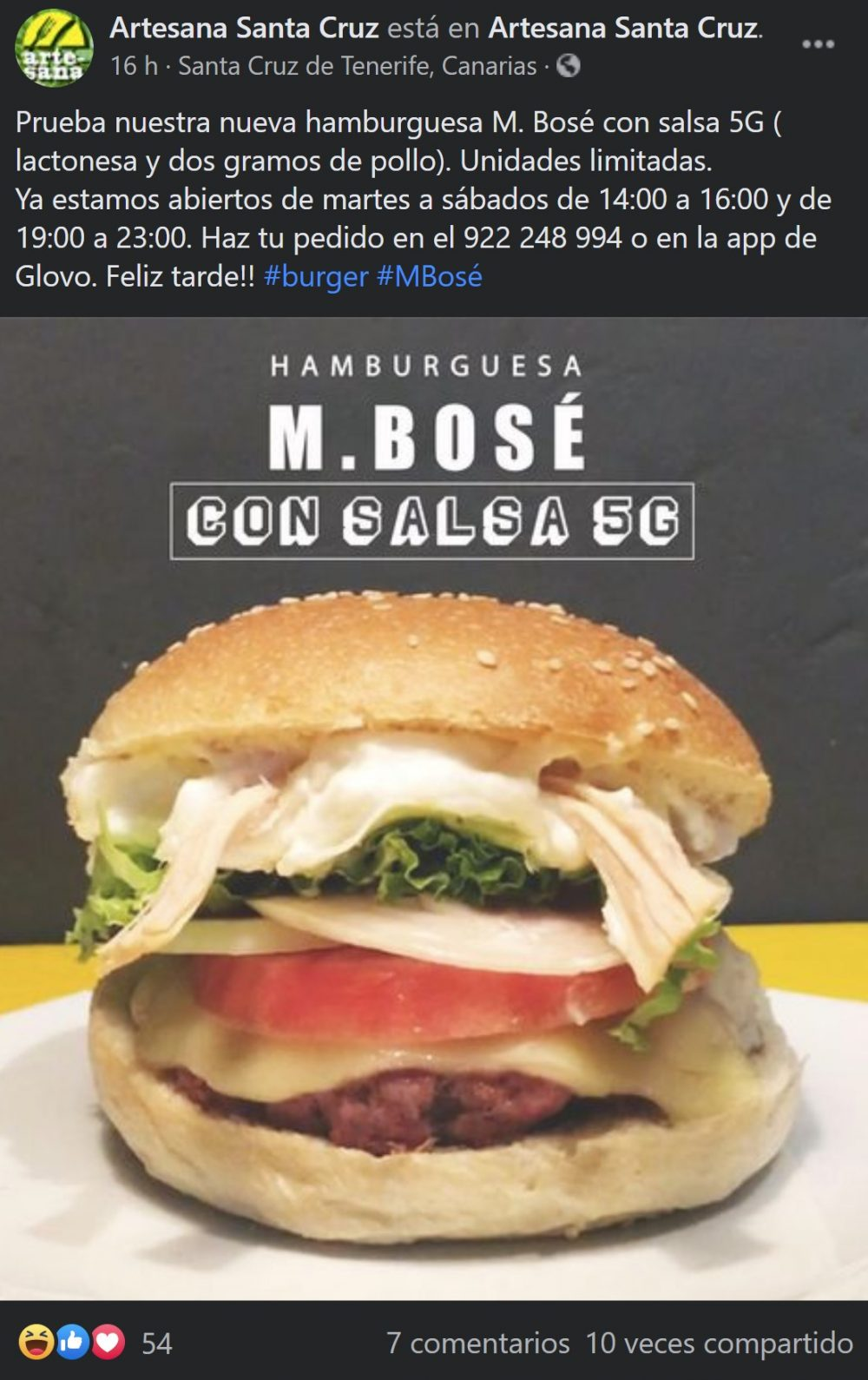 "M. Bosé: La hamburguesa con ""salsa 5G"" que podrás comer en Santa Cruz de Tenerife"