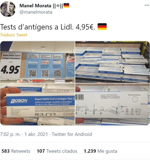 En Lidl Alemania venden test antígenos a 4.95 FABRICADOS EN MÁLAGA, los cuales aquí no tienen permitida su venta