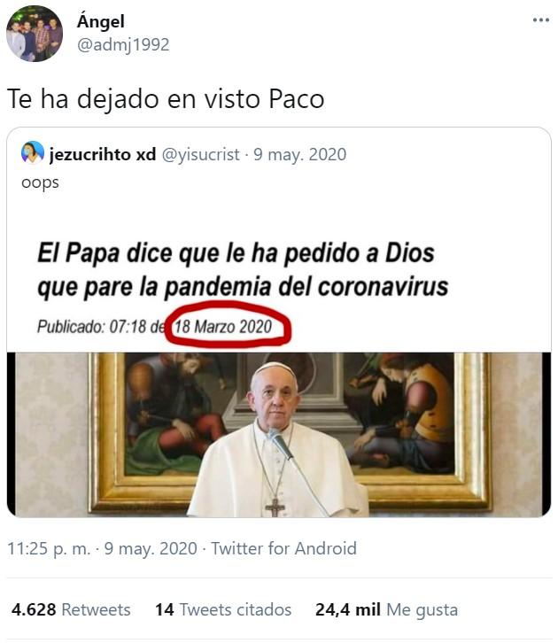 Si he buskao y cuando busco lo dl Dios ese, solo aparece el Papa en l google pidiendo perras