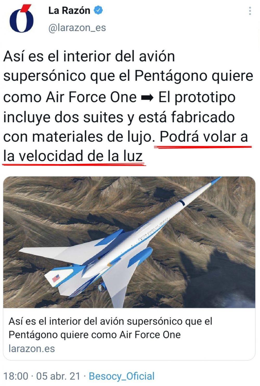 La Razón la lía con un titular en el que dice que el nuevo Air Force One volará a la velocidad de la luz