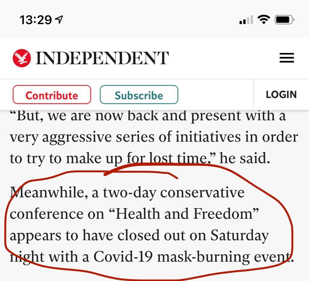 Conferencia conservadora en EEUU termina con una quema de mascarillas