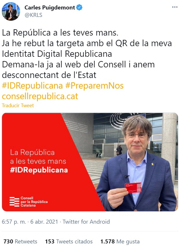 """""""Identidad Digital Catalana"""": Puigdemont lanza su propio """"carnet del Club Megatrix"""""""