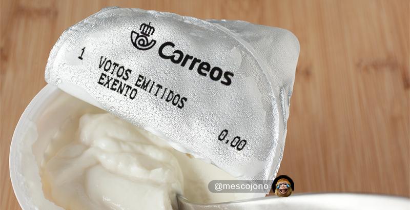 Me acabo de abrir un yogur y me ha salido otro voto emitido de Correos.