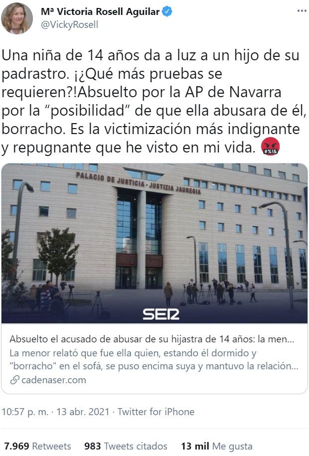 """El lunes se publicaba esta noticia: """"Absuelto un acusado de abusar de su hijastra de 14 años"""""""