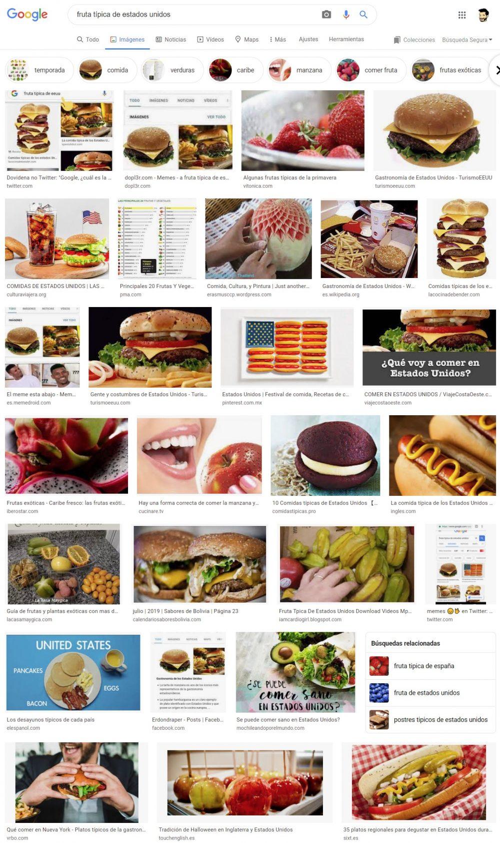 """Esto es lo que pasa si buscas """"Fruta típica de Estados Unidos"""" en Google Imágenes"""
