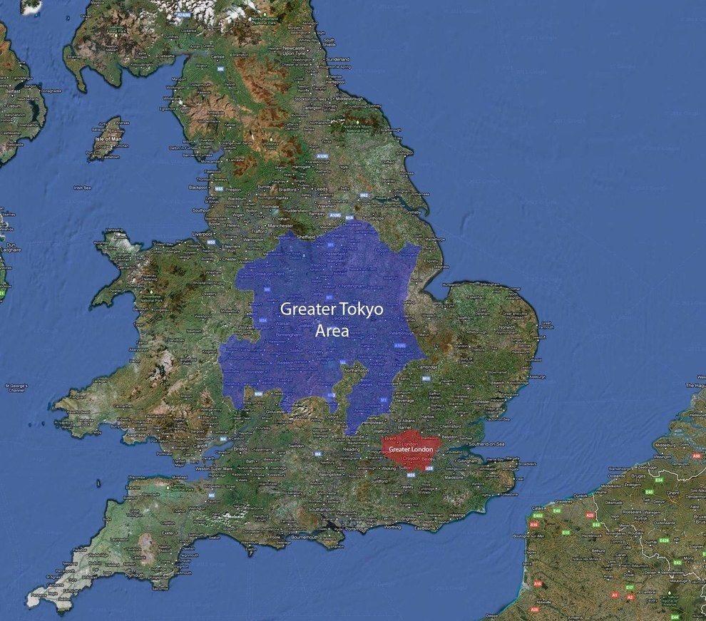 Comparando la dimensión de Tokio con la de Londres