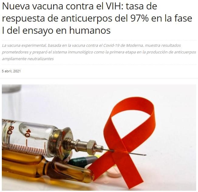 Vacuna contra VIH basada en la tecnología de ModeRNA: respuesta de anticuerpos del 97% en fase 1