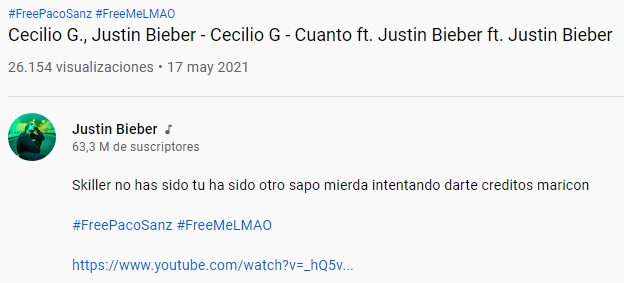 """Ayer hackearon la cuenta de YouTube de Justin Bieber para subir un vídeo """"featuring Cecilio G"""" que, en realidad, es un mono riéndose con la bandera de méxico en pantalla y el hashtag """"FreePacoSanz"""" con un enlace a una canción de Yung Beef. Vivimos en una simulación."""