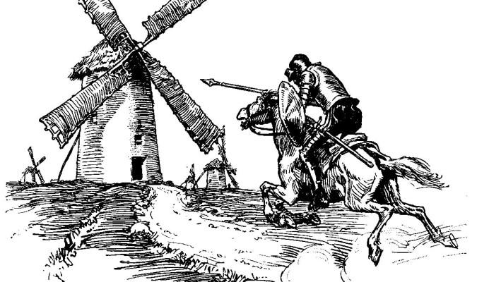 """""""Mire vuestra merced -respondió Sancho- que aquellos que allí se parecen no son gigantes, sino molinos de viento, y lo que en ellos parecen brazos son las aspas, que, volteadas del viento, hacen andar la piedra del molino""""."""