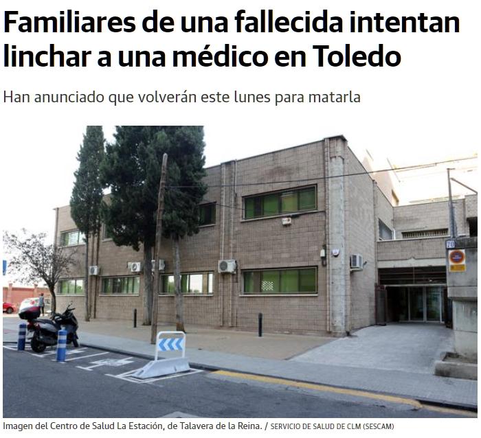 Familiares de una fallecida intentan linchar a una médico en Toledo