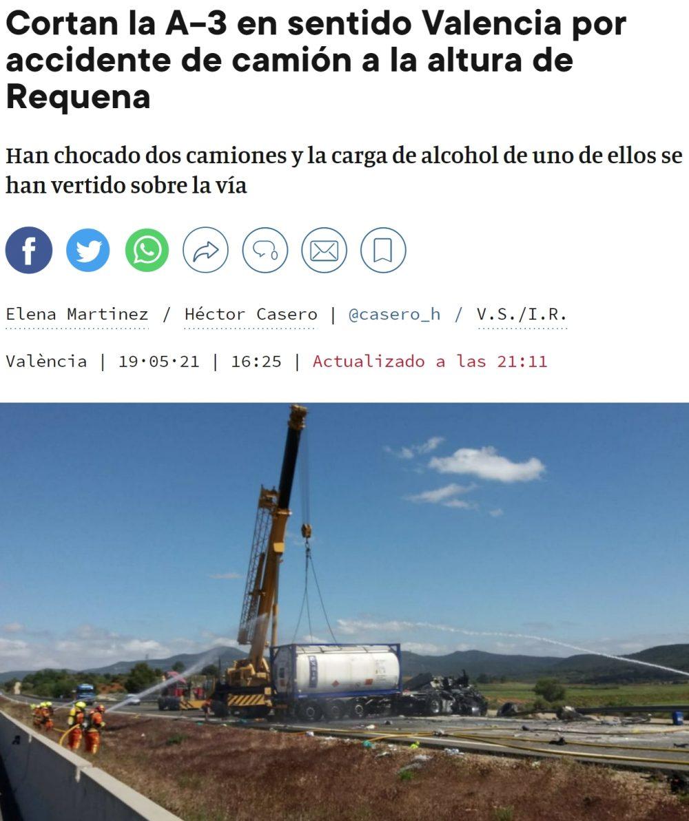 Por sorprendente que parezca, solo ha habido heridos leves en este accidente de Camión sucedido en Requena