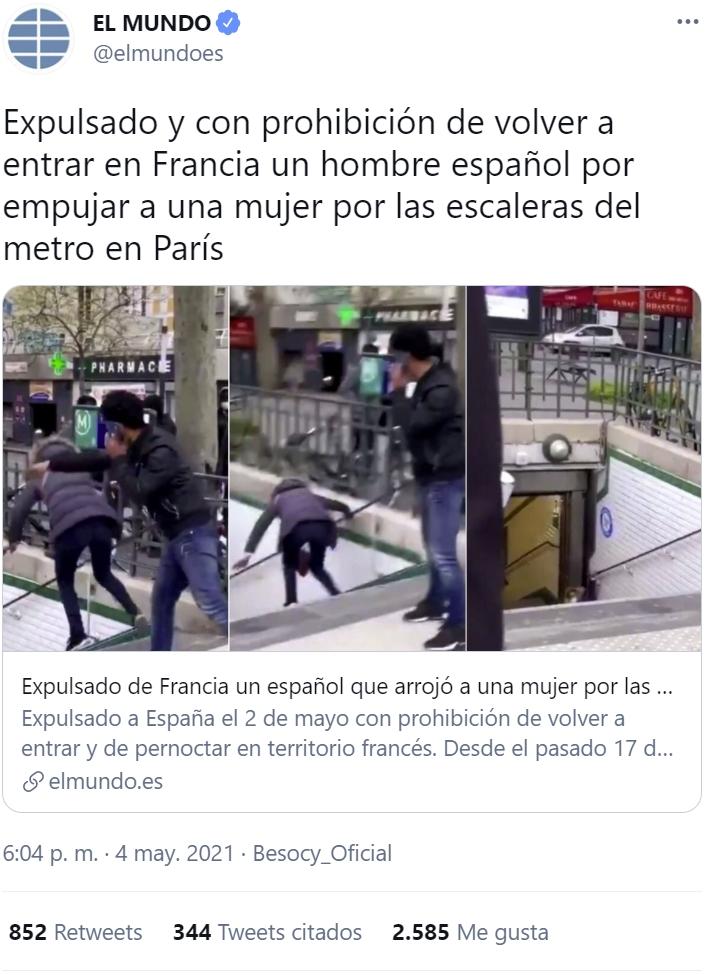 """El tipo que empujó a una mujer escaleras abajo en París, es español y la """"gracia"""" le ha costado la deportación"""