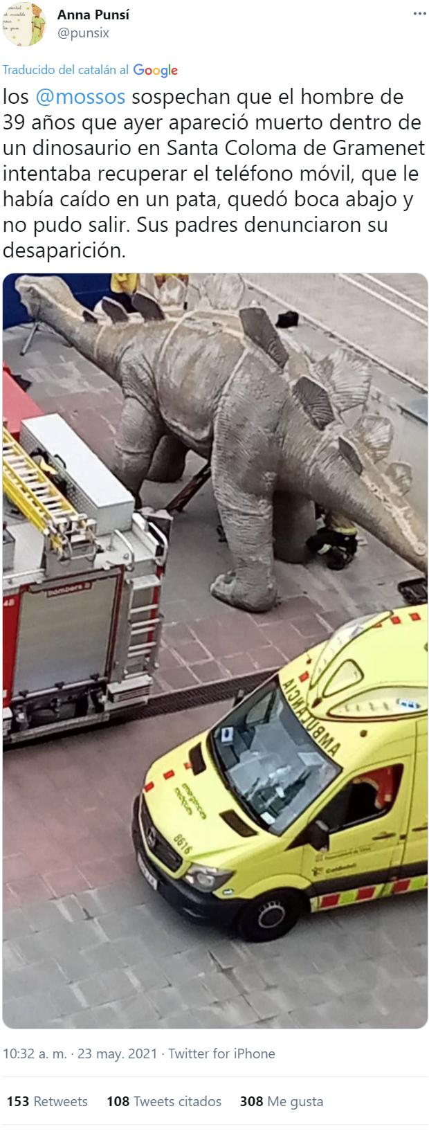 Más información sobre el extraño caso del hombre encontrado muerto dentro de un dinosaurio