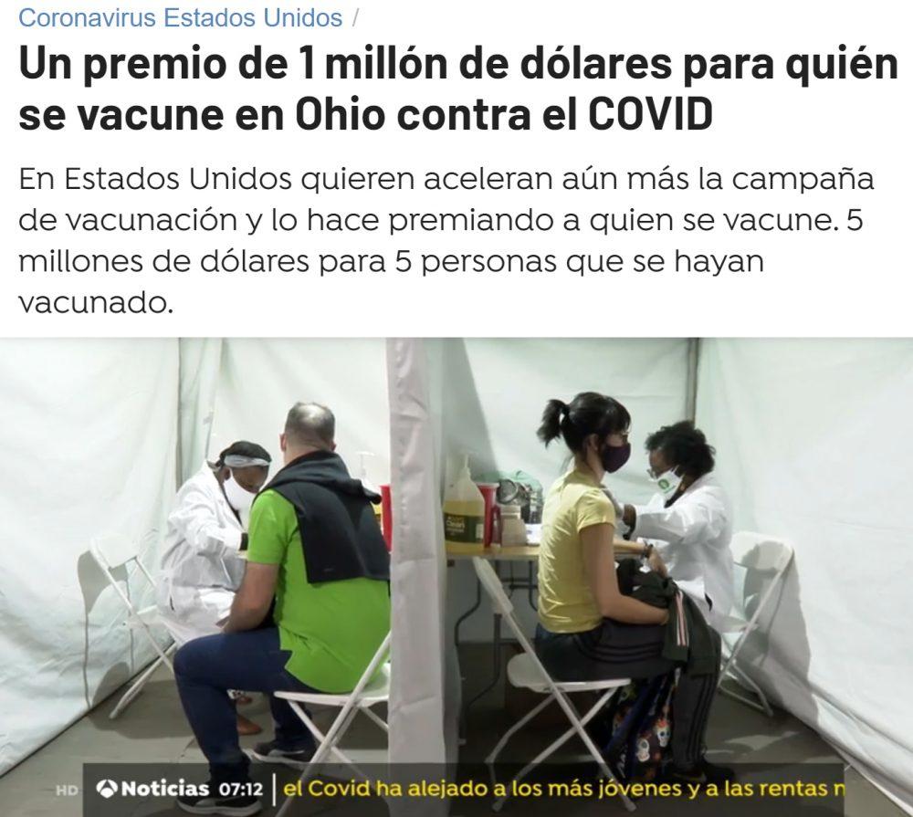 ¿Y si al vacunarte entrases en el sorteo de 1 millón de dólares?