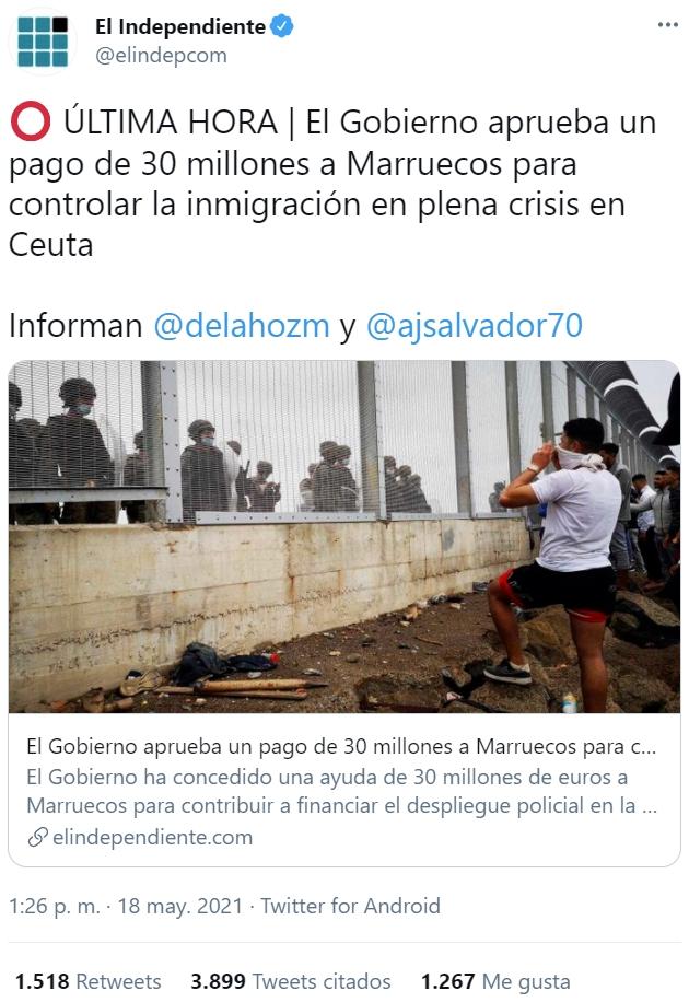 Llamadas de atencion incluso del propio parlamento europeo a Marruecos... y el gobierno español bajándose los pantalones y regalando 30 millones de euros