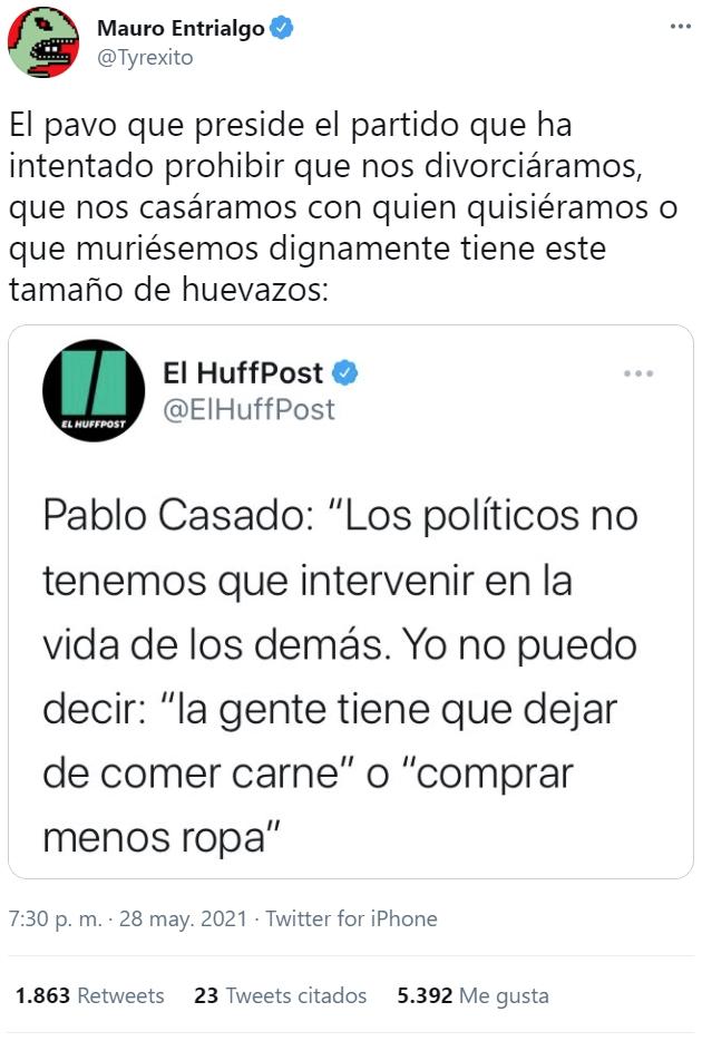 Pablo Casado parece esforzarse por destacar entre la incompetencia