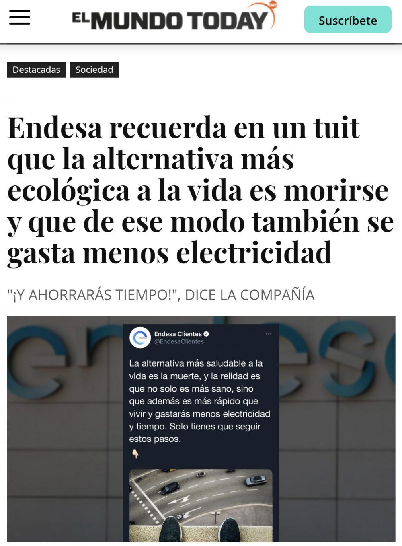 Endesa publicando recetas para que gastes menos electricidad...