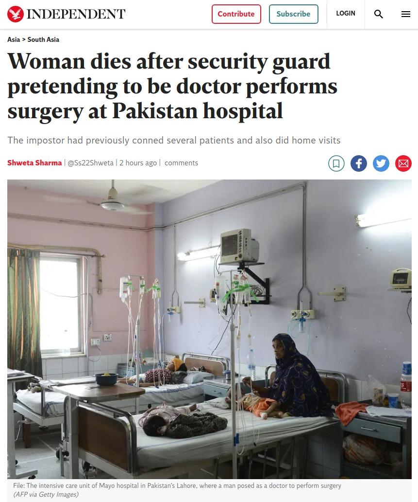 Una mujer muere en Pakistán después de que un vigilante de seguridad la operase fingiendo que era cirujano