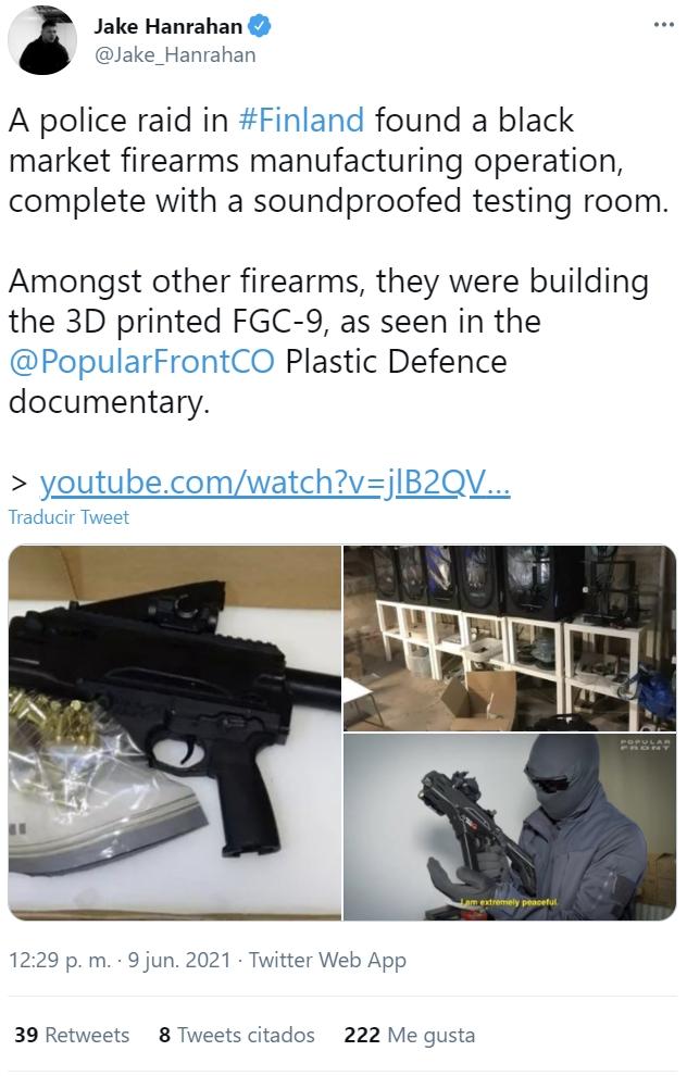 Una redada de la policía finlandesa destapa un mercado negro de armas impresas en 3D
