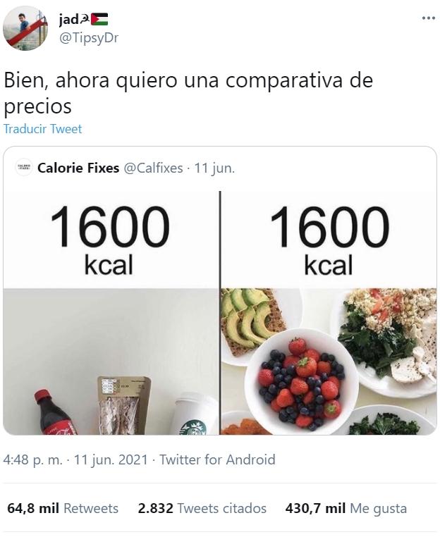 El problema de la alimentación en occidente resumido en un tuit