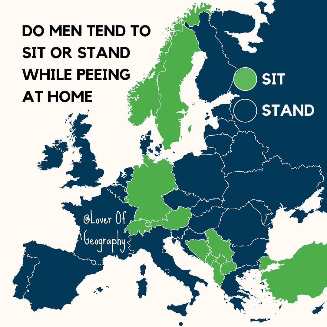 ¿Cómo orinan los hombres en Europa?