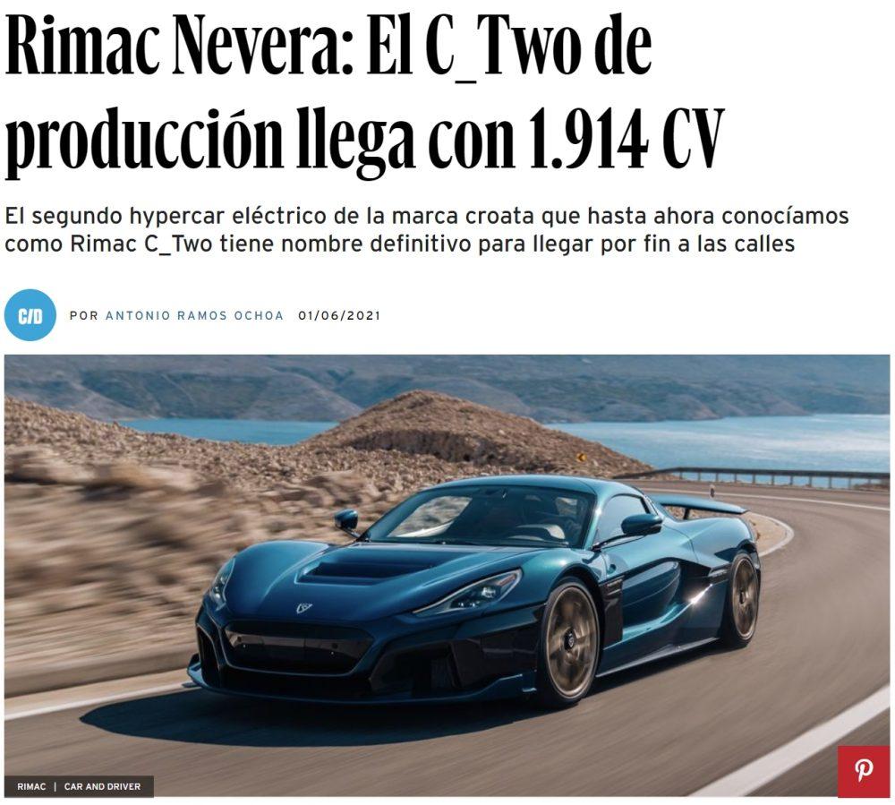 Rimac Nevera: Si el nombre no te deja frío, lo harán sus cifras. casi 2000cv y un 0 a 100 km/h en solo 1,85 segundos
