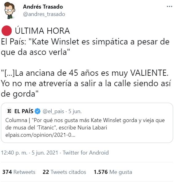 ¿Por qué nos gusta más Kate Winslet OBESA MÓRBIDA Y ANCIANA DECRÉPITA que de musa en el Titanic?
