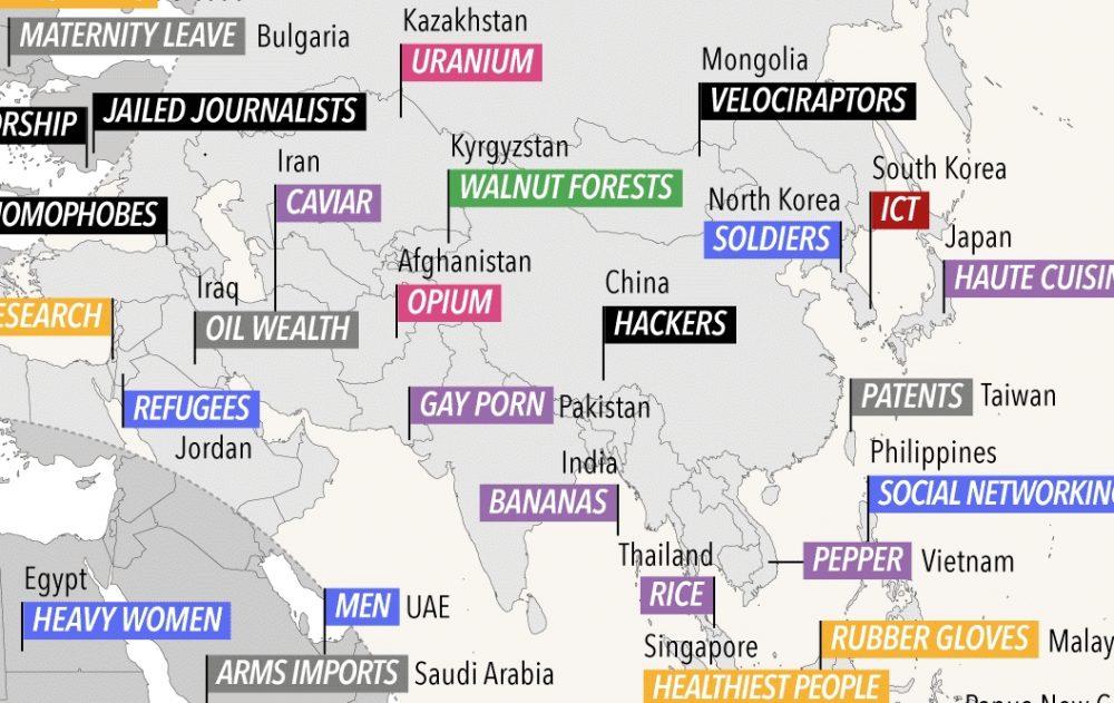 ¿En qué es el líder cada país del mundo?