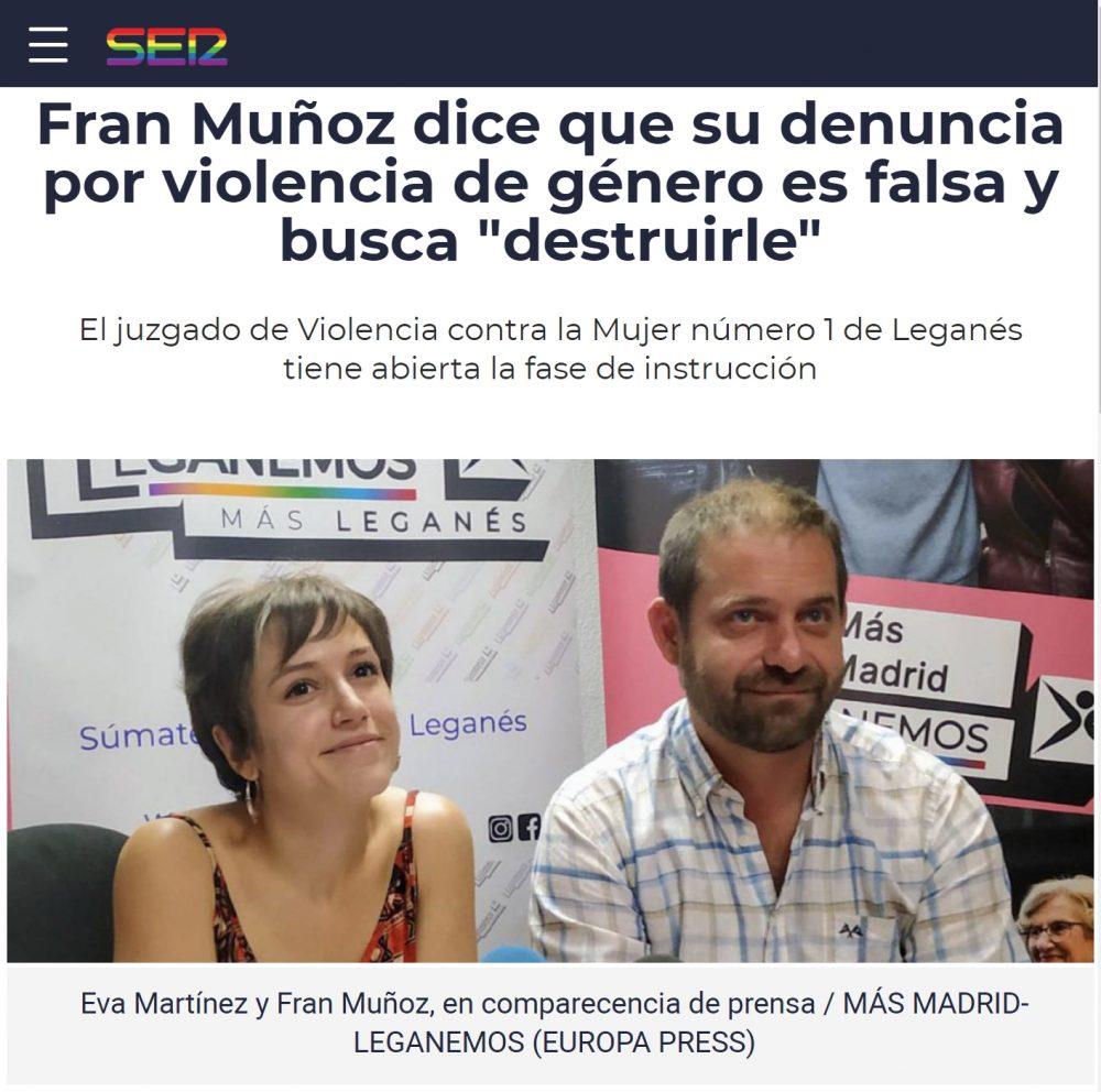 El portavoz de Más Madrid en Leganés dice que es víctima de una denuncia falsa por violencia doméstica