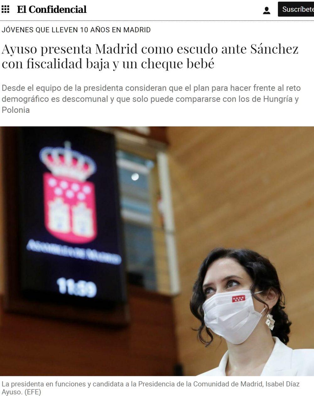 Ayuso presenta una paga para mujeres que lleven más de 10 años empadronadas en Madrid y decidan tener hijos