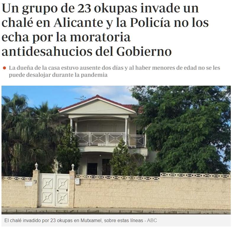Una señora se va un par de días de su casa (vivienda habitual) y al volver ya no puede entrar porque hay 23 okupas dentro