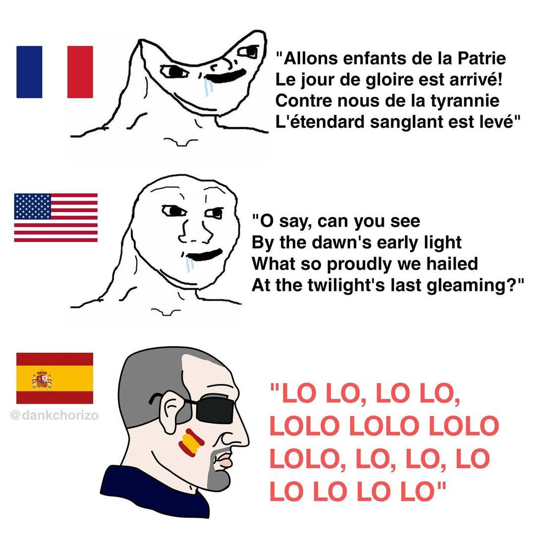Lo bueno de ser español es que puedes cantar el himno estando al borde del coma etílico sin fallar ni una letra