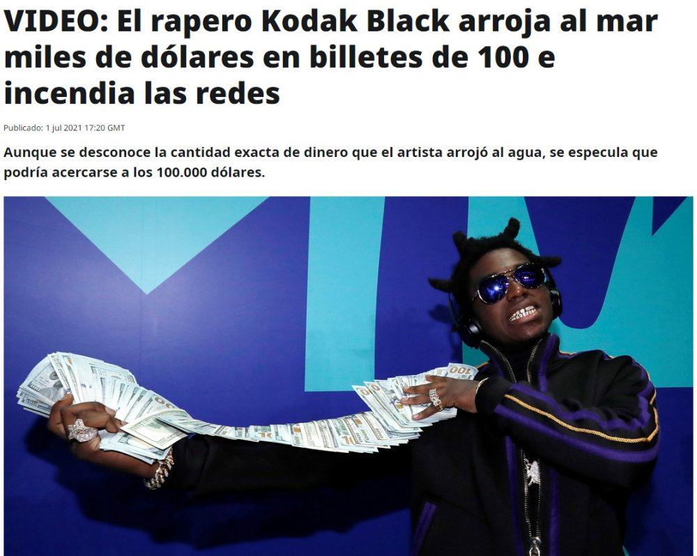 """El rapero """"Kodak Black"""" tira 100.000 dólares al océano because yes"""