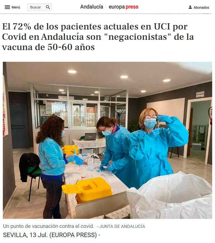 El 72% de las 122 personas que se encuentran en la UCI ahora mismo en Andalucia tienen entre 50 a 60 años y no quisieron vacunarse.