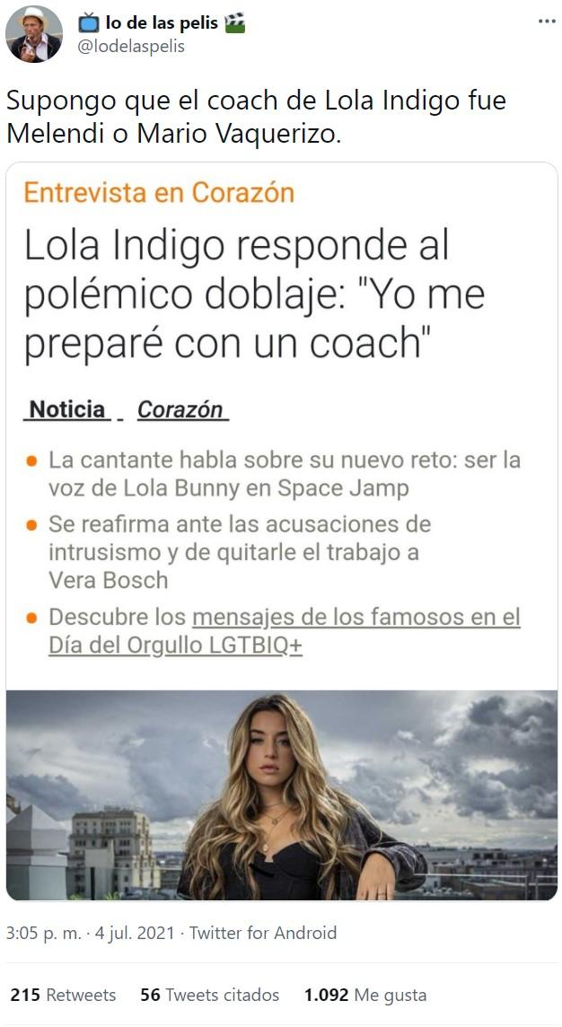 Lola Índigo dobla a Lola Bunny: 8 segundos para que saquéis vuestras propias conclusiones. Lo que había/ lo que hay.