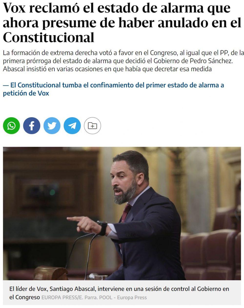 """""""Fui el primer líder político que le exigí el estado de alarma el martes 10 de marzo"""": Santiago Abascal, 25 de marzo de 2020 en el pleno en el que votaría sí a la prórroga del estado de alarma."""