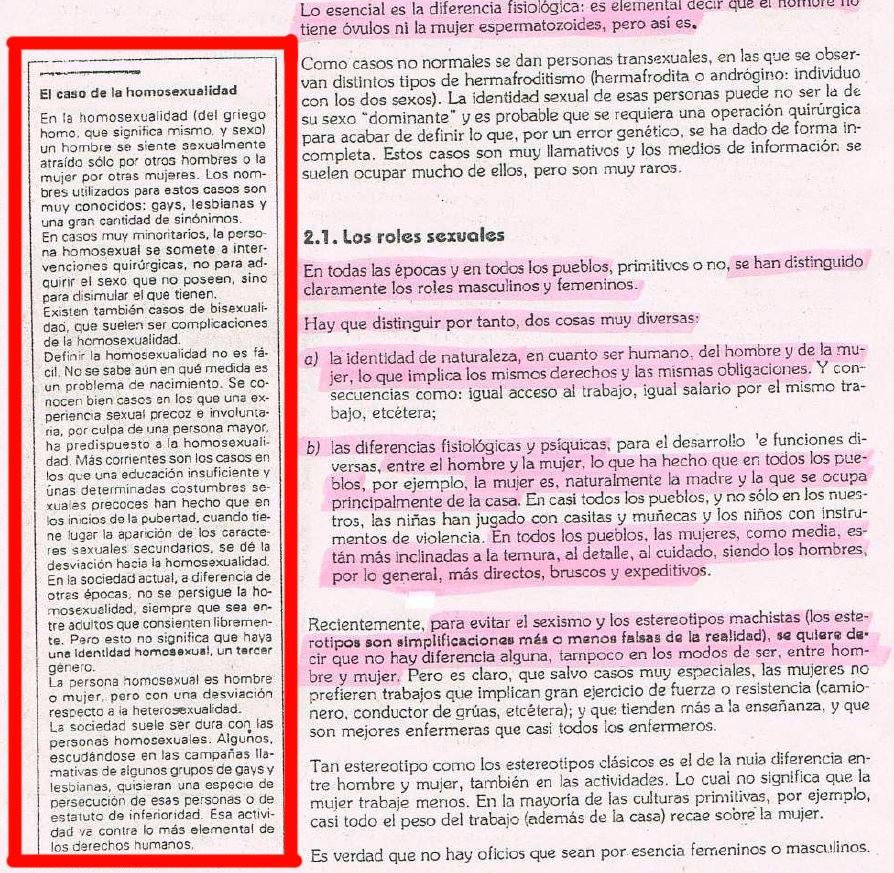 Una hoja del manual que repartía entre sus alumnos el profesor supuestamente despedido por decir que solo existen dos sеxos