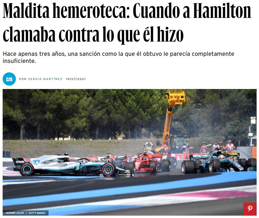 """""""Cuando alguien destroza tu carrera... no debería poder volver y terminar delante"""", afirmó Lewis Hamilton. Pero no este domingo..."""