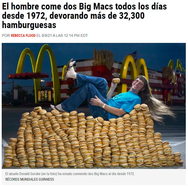 2 Big Macs al día durante 49 años