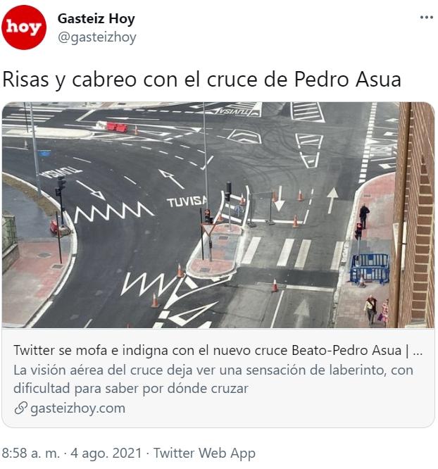En Vitoria hace tiempo que tenemos a algún trolaso rediseñando calles y cruces...