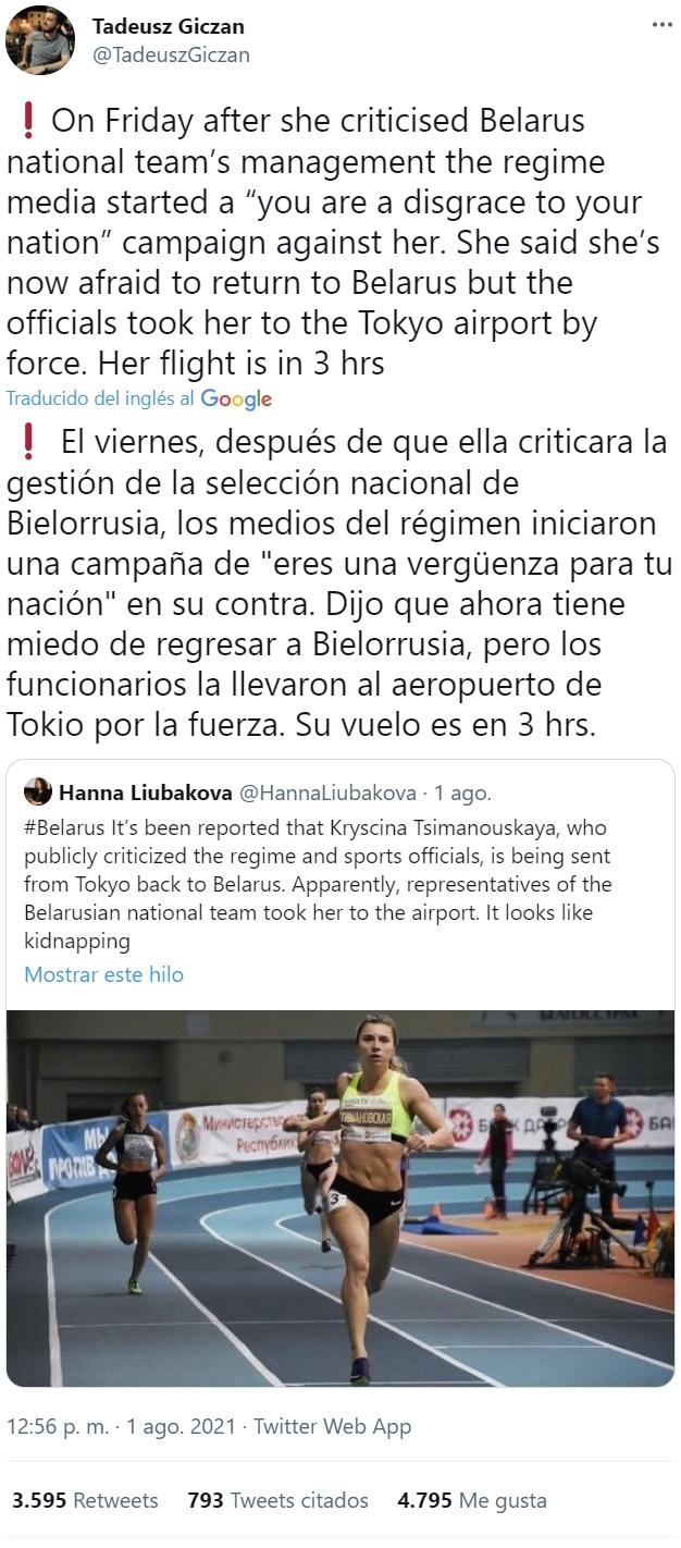 Una atleta ha criticado al régimen de Bielorrusia y... no le ha sentado muy bien al dictador Lucashenko. Además ahora le toca volver.