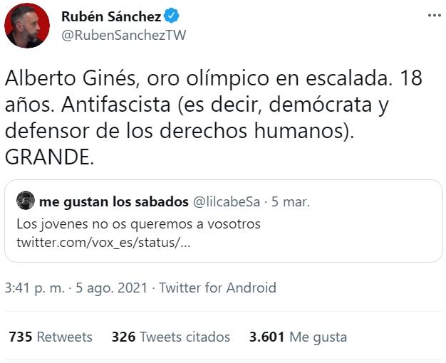 Alberto Ginés, oro olímpico en escalada. 18 años. Cebollista (es decir, con criterio culinario). GRANDE.
